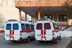 Ambulanser är på avdelningskontoret nummer 5, Gomel, Vitryssland Royaltyfria Bilder