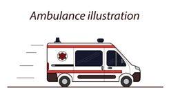 Ambulanslägenhetlinje vektorillustration Arkivfoto