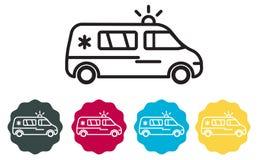 Ambulansowa pojazd ikona - ilustracja Zdjęcia Stock