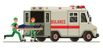 Ambulansowy przeciwawaryjny sanitariusza przewożenia pacjent w blejtramu mieszkania stylu wektoru ilustraci fotografia royalty free