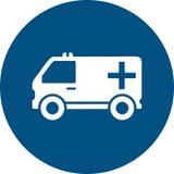 Ambulansowy samochód na błękitnej round ikonie ilustracji