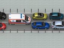 Ambulansowy samochód w ruchu drogowego dżemu odgórnym widoku Zdjęcie Royalty Free