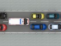 Ambulansowy samochód w ruchu drogowego dżemu odgórnym widoku Obrazy Royalty Free