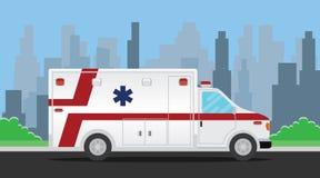 Ambulansowy transportu pojazd na drodze royalty ilustracja