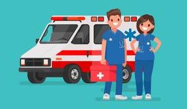 Ambulanspersonal Par av doktorer Vektorillustration i en fla royaltyfri illustrationer