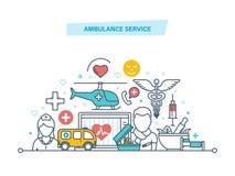 Ambulansservice Modern medicin, hälsovård, tålmodig omsorg, medicinsk lätthet vektor illustrationer