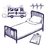 ambulansunderlagsjukhus Vektor Illustrationer