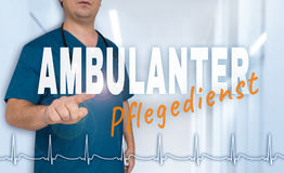 Ambulanter Pflegedienst & x28;in german Outpatient care& x29; doctor shows Royalty Free Stock Image