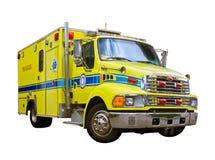 Ambulanza di salvataggio del fuoco isolata su priorità bassa bianca Fotografia Stock Libera da Diritti