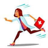 Ambulanza, eseguente vettore della scatola dell'aiuto del dottore Woman With First Illustrazione isolata del fumetto royalty illustrazione gratis