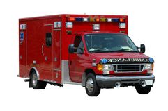 Ambulanza isolata su un bianco Fotografia Stock Libera da Diritti