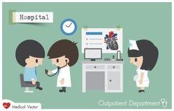 Ambulatorio OPD in ospedale Stetoscopio di uso del dottore Cardiologist Fotografia Stock Libera da Diritti