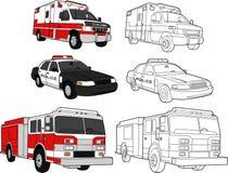 Ambulância, carro de polícia, motor de incêndio Foto de Stock Royalty Free