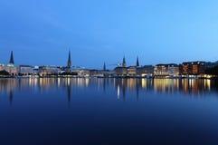 Amburgo alla notte Immagini Stock