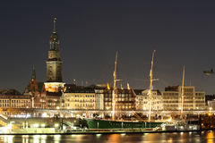 Amburgo alla notte Fotografia Stock