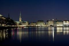 Amburgo alla notte Fotografie Stock Libere da Diritti