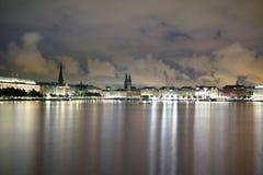 Amburgo Alster alla notte Fotografie Stock