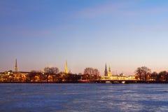 Amburgo con Alster congelato Immagine Stock Libera da Diritti