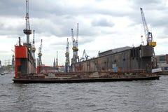 Amburgo, costruzione navale, bacino di carenaggio Blohm & Voss Fotografie Stock Libere da Diritti