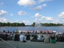 amburgo germany Panorama della città Vista del lago Alster Immagine Stock Libera da Diritti