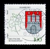 Amburgo, stemma degli stati federali del serie della Germania, ci Fotografie Stock