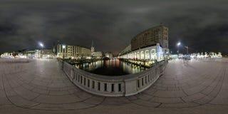 Amburgo vista della via di panorama di 360 gradi Fotografie Stock Libere da Diritti