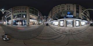 Amburgo vista della via di panorama di 360 gradi Fotografia Stock Libera da Diritti