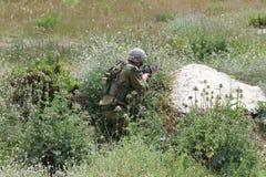 Ambush. Israeli solder in armed ambush Royalty Free Stock Photos