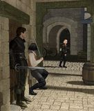 Ambush in a Medieval Alley. Armed men waiting for their victim in a Medieval or fantasy alley, 3d digitally rendered illustration Stock Photography