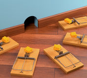 Ambush. With various traps. Clipping path included Royalty Free Stock Image