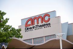 AMC Dine-In Theatre. AMC Theatre`s originally an acronym of American Multi-Cinema, often referred to simply as AMC and known in some countries as AMC Cinemas stock photography