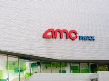 AMC IMAX logo outside of Metreon theater location in downtown San Francisco stock image