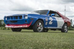 Amc javelin race car. Front side view of javelin race car in display during the granby international 28-30 july 2017 stock photos