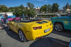 Amcar, yellow and black chevrolet corvette Royalty Free Stock Photos