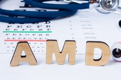 AMD Abbreviation or acronym of age-related macular degeneration - eye problem in older persons. Word AMD is on foreground near eye. Model with stethoscope and Stock Photos