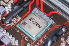 AMD Ryzen在Asus最初350正mainboard的处理机碎片 库存照片