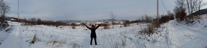 amden område nära den panoramaskidåkningswitzerland vintern Royaltyfri Fotografi
