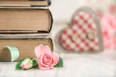 Ame à leitura, ao fundo do conceito com coração e aumentou Imagens de Stock