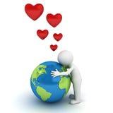 Ame al hombre del concepto 3d de la tierra que abraza el globo azul Imagen de archivo libre de regalías