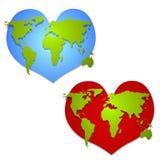 Ame a arte de grampo dada forma coração da terra Fotografia de Stock Royalty Free