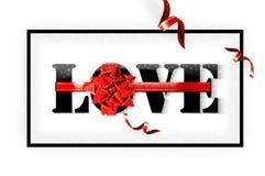 Ame con el arco grande rojo en un fondo blanco con resplandor y brille Imagen de archivo