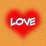 Ame el arte pop retro del estilo de la inscripción roja del corazón Imágenes de archivo libres de regalías