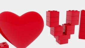 Ame el concepto construido de ladrillos del juguete con el corazón rojo libre illustration