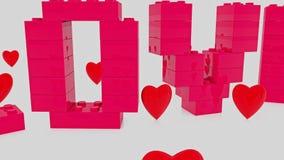 Ame el concepto construido de ladrillos del juguete con los corazones rojos alrededor ilustración del vector