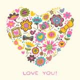 Ame el corazón hecho de flores y de cosas de moda. Vector el illust Imagen de archivo libre de regalías