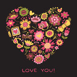 Ame el corazón hecho de flores y de cosas de moda. Vector el illust Fotografía de archivo libre de regalías