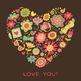 Ame el corazón hecho de flores y de cosas de moda. Vector el illust Imágenes de archivo libres de regalías