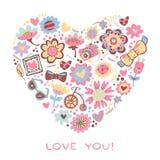 Ame el corazón hecho de flores y de cosas de moda. Vector el illust Foto de archivo