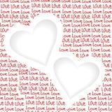 Ame el fondo con dos corazones y coloqúelo para el texto stock de ilustración