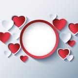 Ame el fondo, marco del día de tarjetas del día de San Valentín con los corazones 3d Fotos de archivo